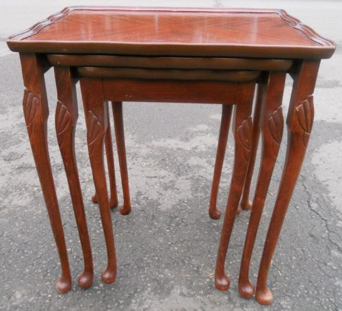 Nest of Three Mahogany Coffee Tables